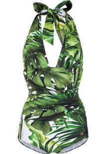 Dolce & Gabbana Maiô Com Estampa De Floresta - Verde