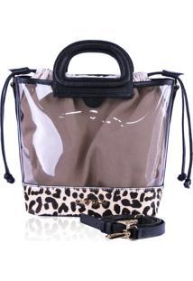 Bolsa Bucket Bag Campezzo Vinil E Onça