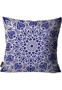 Capa Para Almofada Premium Peluciada Mdecore Mandala Colorido 45X45Cm Azul
