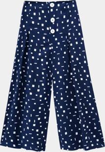 Calça Rayon Pantacourt Com Botões Azul