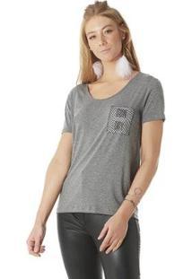 Camiseta Serinah Bolso Estampada Feminina - Feminino-Mescla
