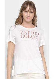Camiseta Colcci Logo Básica Feminina - Feminino-Off White