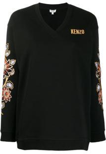 Kenzo Suéter Com Bordado Floral - Preto