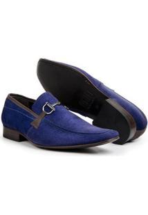 Sapato Social Masculino Bico Fino De Couro Legítimo Bigioni - Masculino-Azul