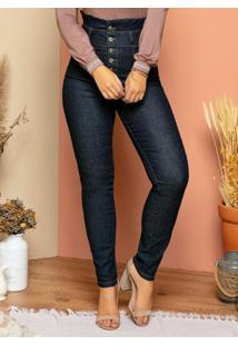 Calça Quintess Jeans Com Babado No Cós