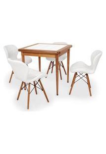 Conjunto Mesa De Jantar Em Madeira Imbuia Com Azulejo + 4 Cadeiras Slim - Branco