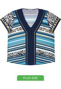 Blusa Plus Size Estampada Azul