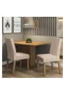 Conjunto Sala De Jantar Madesa Manu Mesa Tampo De Madeira Com 2 Cadeiras - Rustic/Imperial