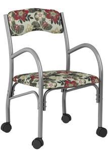 Cadeira Stela 170 Com Rodinhas Floral Vermelho 01 Bona Vita