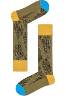 Meia Masculina Folhagem - Amarelo