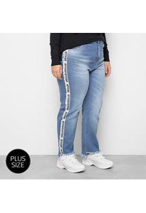 Calça Jeans Plus Size Razon Faixa Lateral Attitude Feminina - Feminino