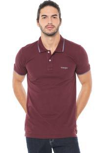 Camisa Polo Wrangler Reta Logo Vinho
