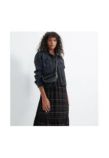 Jaqueta Jeans Com Costuras Frontais E Barra Desfiada