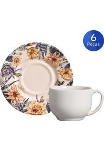 Conjunto 6 Xícaras De Chá Com Pires Succulents - Porto Brasil - Azul / Amarelo