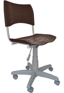 Cadeira Giratória Iso Plástica Base Cinza - Marrom