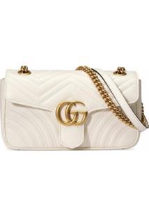 Gucci Bolsa Gg Marmont Matelassê Pequena - Branco