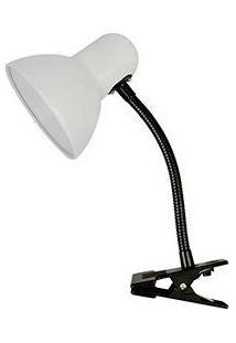 Luminária De Mesa Clip Metal Plástico Branco/Preto - Premier
