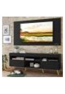 """Rack Com Painel E Suporte Tv 65"""" Londres Multimóveis Pés Retrô E 2 Portas Preto/Natural"""