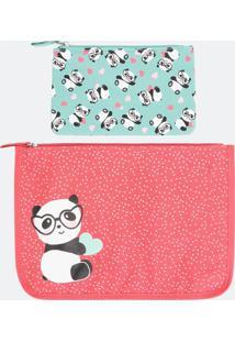 Kit Nécessaire Envelope Com Estampa Panda