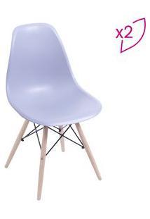 Or Design Jogo De Cadeiras Eames Dkr Cinza & Madeira Clara 2Pã§S