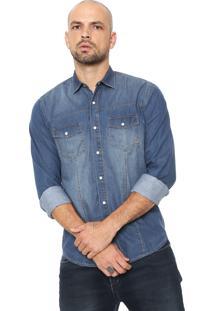 Camisa Jeans Forum Reta Pespontos Azul