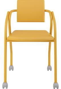 Cadeira Flavia 1713 Com Rodízios Napa Amarela - Carraro