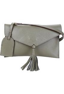 Bolsa Couro Shoestock Crossbody Envelope Feminina - Feminino-Verde