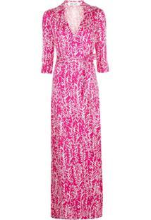 Dvf Diane Von Furstenberg Vestido Gola V De Seda Com Estampa - Rosa