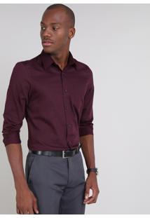 Camisa Masculina Comfort Listrada Com Bolso Manga Longa Vinho