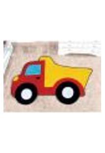 Tapete De Pelúcia Caminhão Vermelho Decorativo 1,32M X 86Cm Antiderrapante