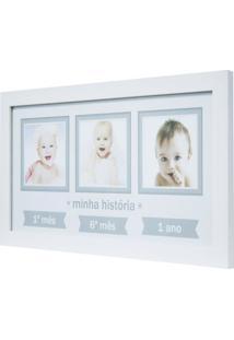 Quadro Para Fotos Baby Decor Minha Hitória Branco 20X40Cm