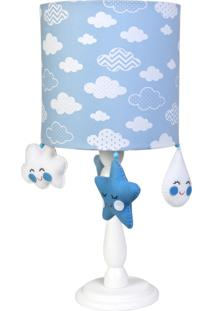 Abajur Potinho De Mel Madeira Chuva De Amor Azul Quarto Bebê Infantil Menino