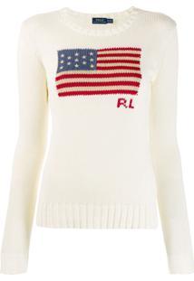 Polo Ralph Lauren Suéter Com Bandeira U.S.A. - Neutro