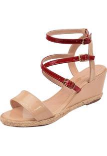 Sandália Rosa Chic Calçados Anabela Marfim
