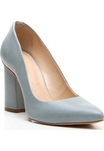 Scarpin Em Couro - Azul Claro- Salto: 9,5Cm - Vivicenza