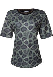 Blusa Dec Careca Retilinea Na Gola (Verde Escuro Estampado Animal Print, P)