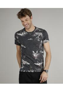 Camiseta Masculina Slim Fit Estampada De Pássaros Manga Curta Gola Careca Chumbo
