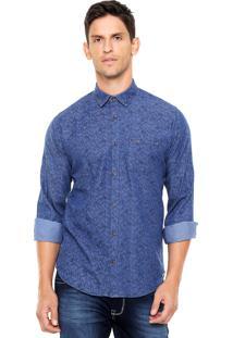 Camisa Colcci Reta Estampada Azul