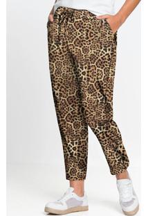 Calça Comfort Em Malha Animal Print