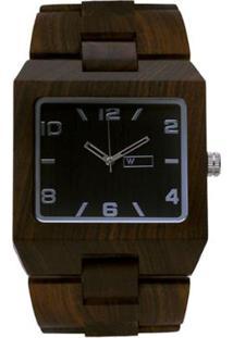 ad80c7b20ed ... Relógio De Madeira Woodz Montana Dark - Masculino-Marrom