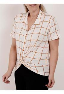 Camisa Manga Curta Plus Size Feminina Autentique Branco/Caramelo