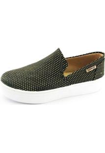Tênis Flatform Quality Shoes Feminino 004 Preto Poá Dourado 34