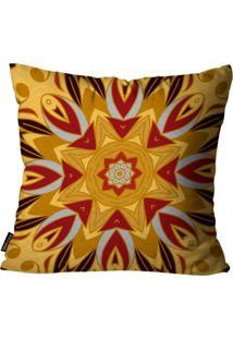 Capa Para Almofada Premium Peluciada Mdecore Mandala Colorido 45X45Cm Amarelo