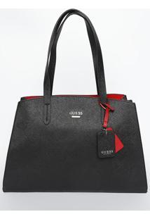 Bolsa Com Tag & Bag Charm- Preta- 24X35X11,5Cm- Guess