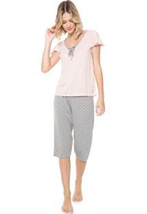 Pijama Laibel Estampado Rosa/ Cinza