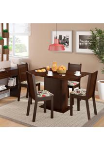 Conjunto De Mesa De Jantar Com 4 Cadeiras Lexy Linho Tabaco E Hibiscos