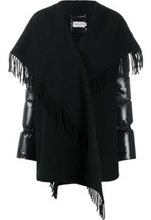 Moncler Scarf Wrapped Padded Coat - Preto