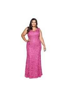 Vestido Almaria Plus Size Pianeta Renda Rosa