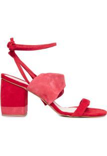 Sandália Feminina De Couro Bicolor - Vermelho