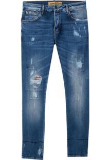 Calça John John Skinny Maiorca Jeans Azul Masculina (Jeans Medio, 44)